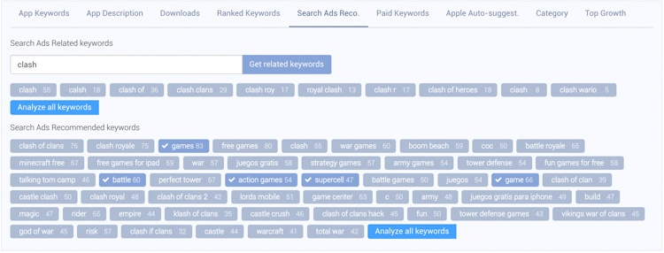 The search ads tab, in which you can enter any term to get Search Ads related keywords.